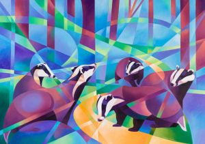 badgers and bluebells limited edition print