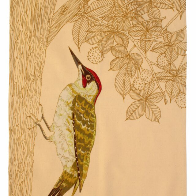 UW Green Woodpecker Tea Towel