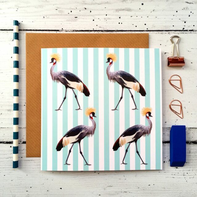 GCL027 - Crowned Crane greetings card Stripe