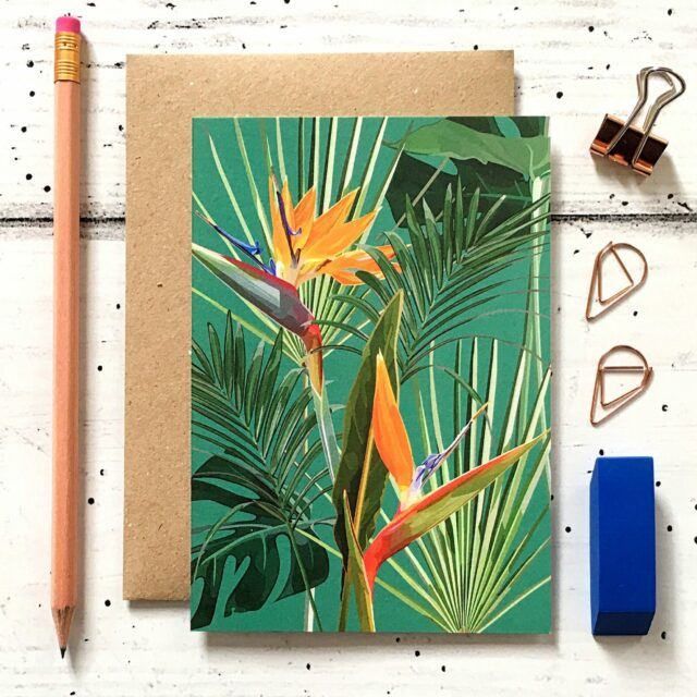 GCT009 - Bird of Paradise Botanical Greetings Card