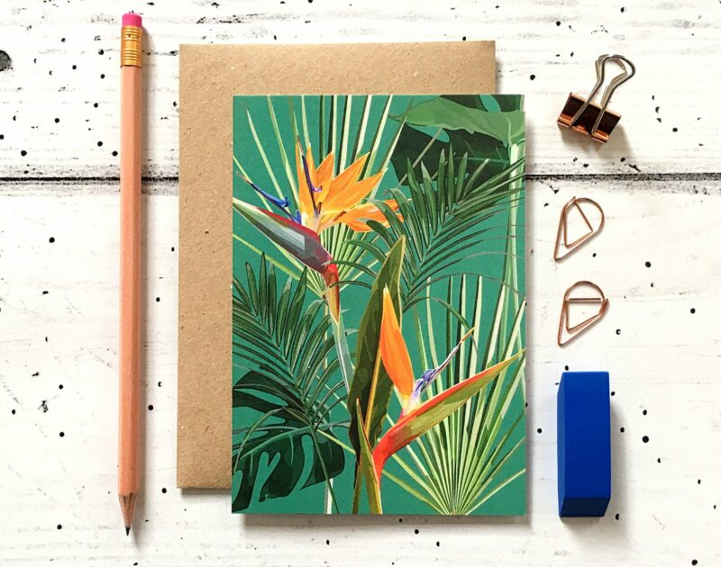 GCT009 - Bird of Paradise Botanical Greetings Card