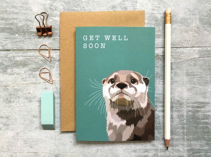 GCW011 - Otter Get Well Soon card