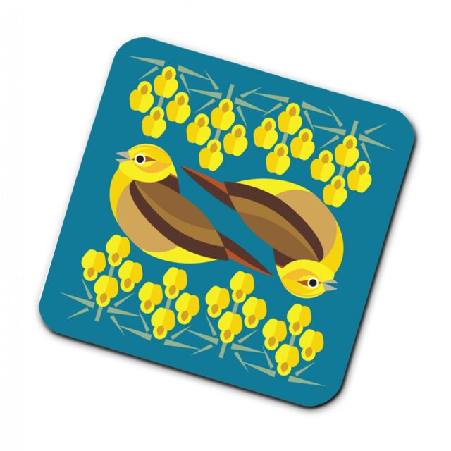 2951592 i like birds 4 pack coasters YELLOW HAMMER