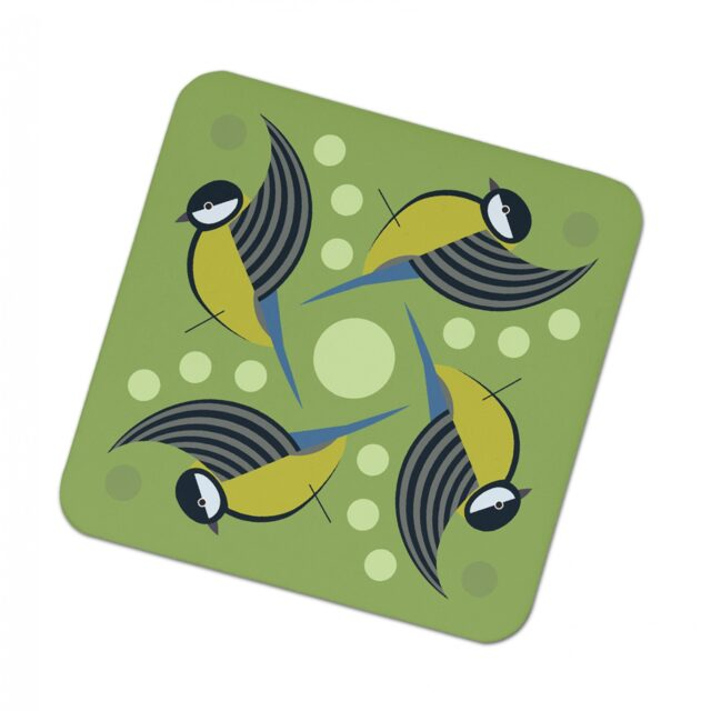 295161Q I like birds coasters 4 pack GREAT TIT