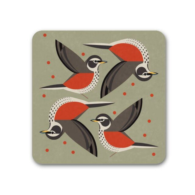 295164T i like birds 4 pack coasters REDWING