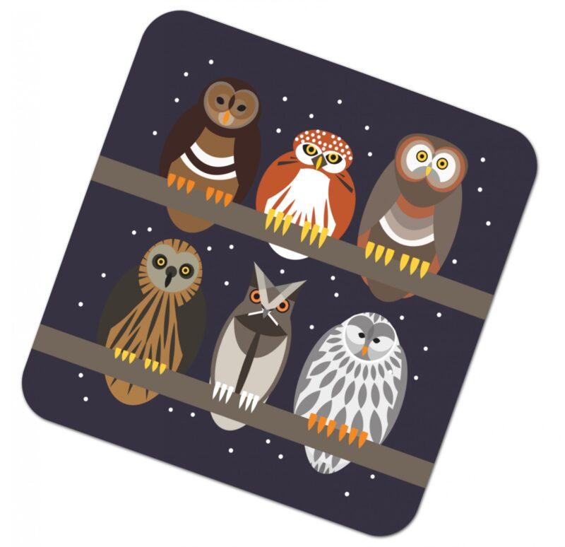 302930W i like birds 4 pack coasters OWLS