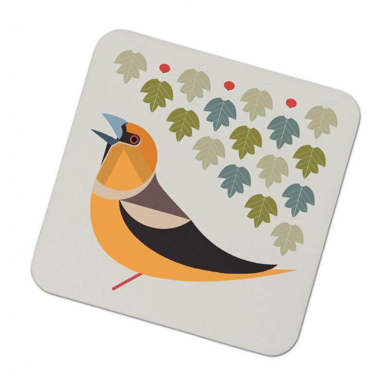 3029357 i like birds 4 pack coasters HAWFINCH