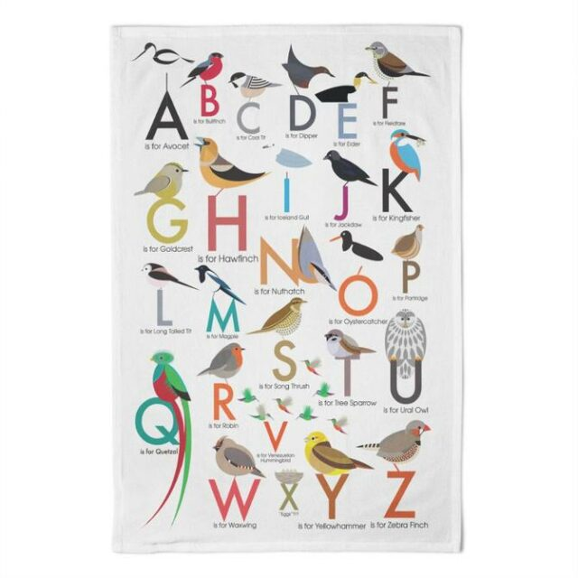 birds alphabet tea towel