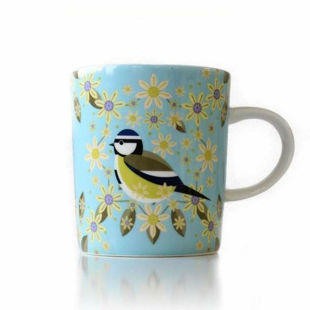 blue tit mug with flowers also painted on