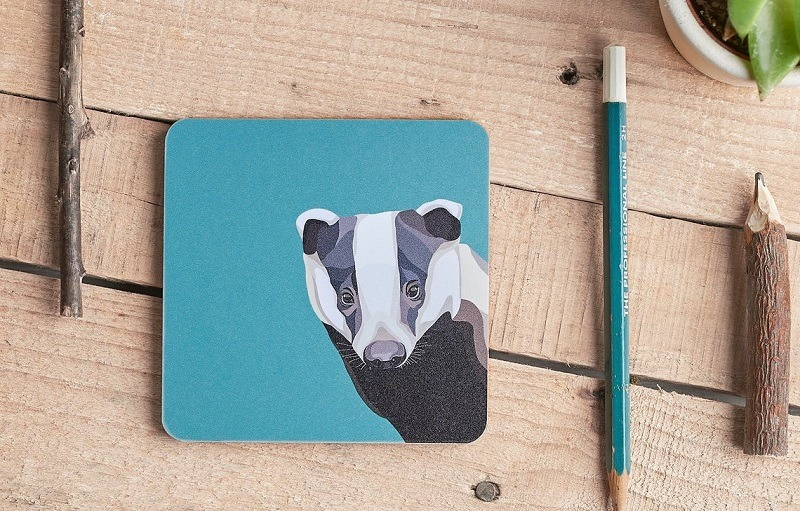 badger coaster on wooden table with pencils part of woodland animal coasters