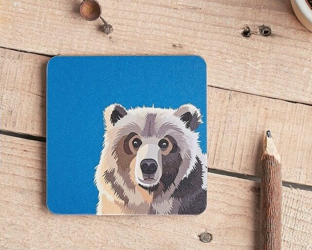 bear coaster on table with pencils part of woodland animal coasters