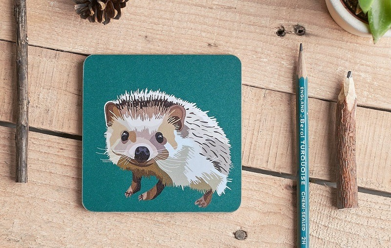 hedgehog coaster on wooden table with pencils and pine cones part of woodland animal coasters