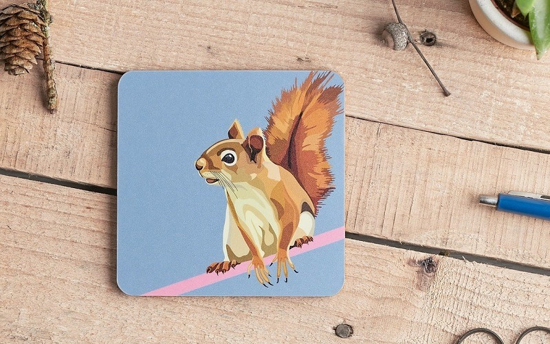 squirrel coaster on brown table with pencils and pine cones part of woodland animal coasters