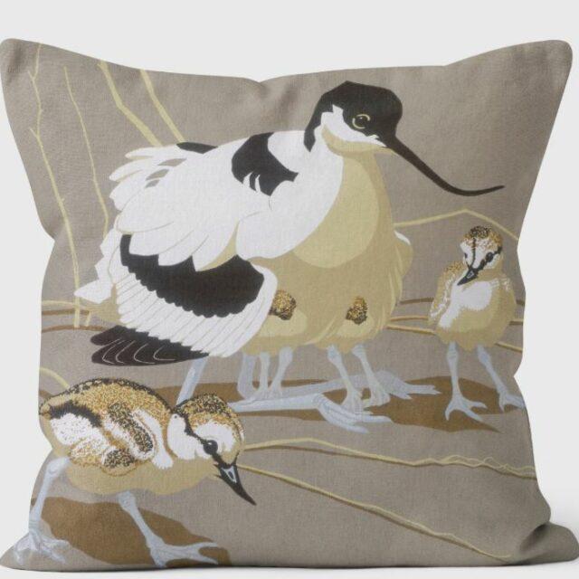 Robert Gillmor - Avocet Family Cushion by We Love Cushions