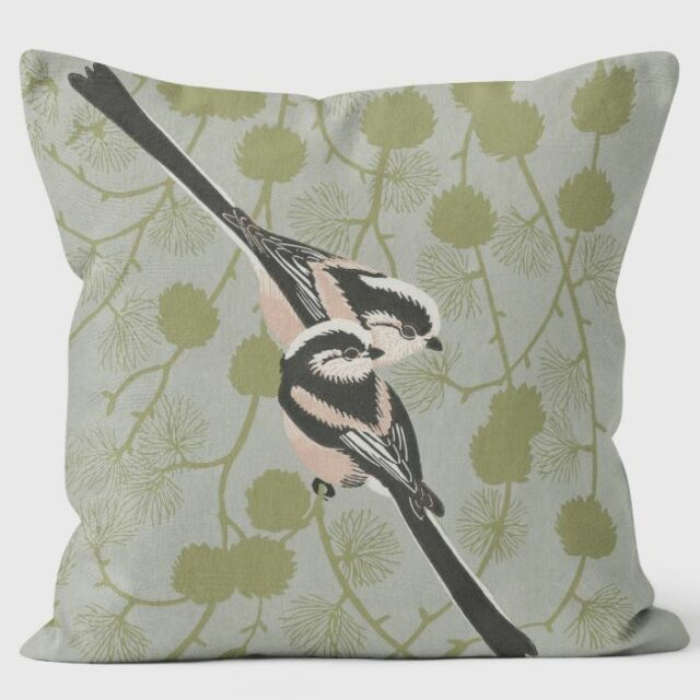 Robert Gillmor - Long Tailed Tit Cushion by We Love Cushions