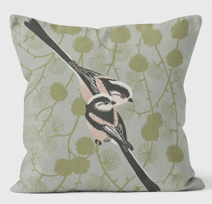 Robert Gillmor - Long Tailed Tit Cushion by We Love Cushions