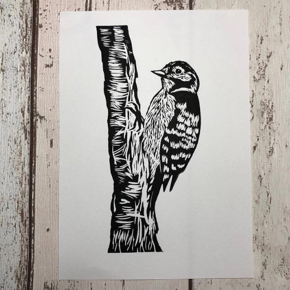 woodpecker linocut print