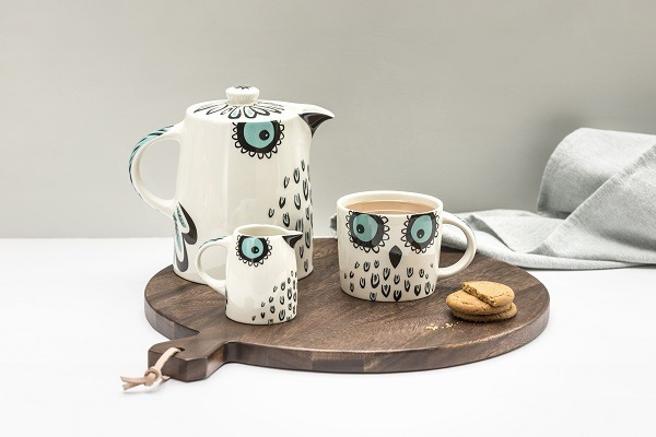 Owl tea pot jug and mug by Hannah Turner