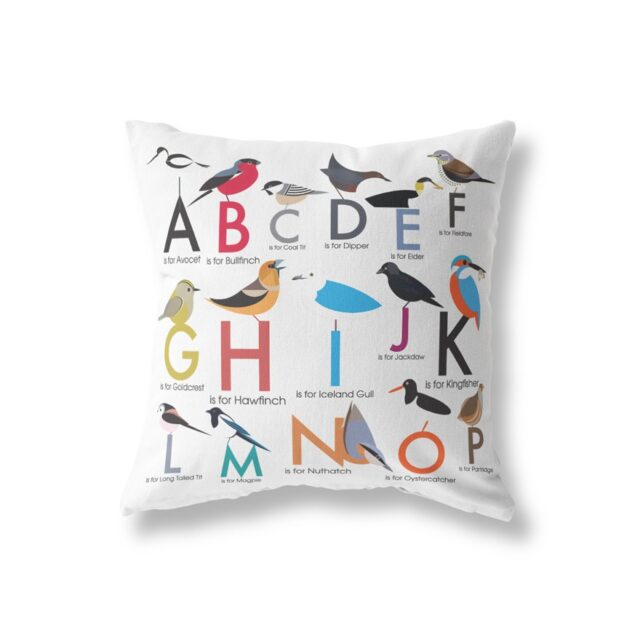 birds alphabet cushion front