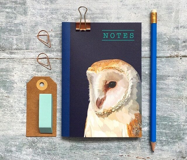 owl notebook against a grey background with pencil and luggage tag