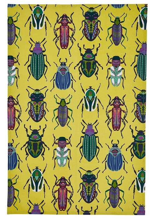 beetles tea towel with yellow background and beetles in rows