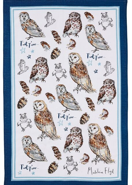 owls tea towel showing barn owls and little owls with blue border