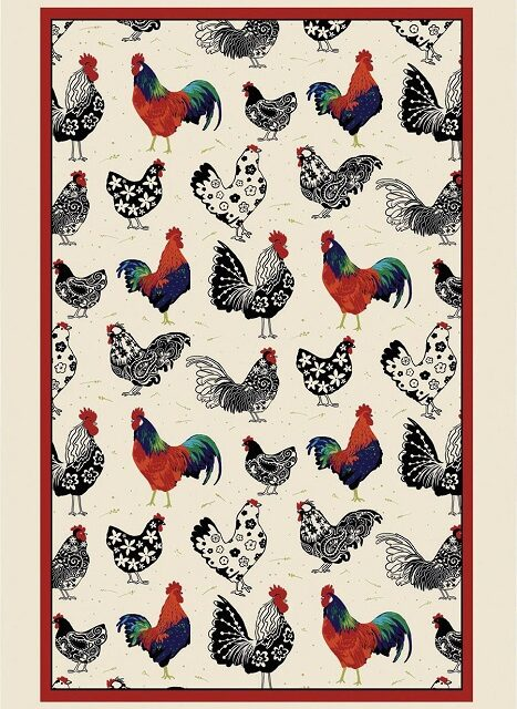 rooster tea towel with black white and red birds and a red border