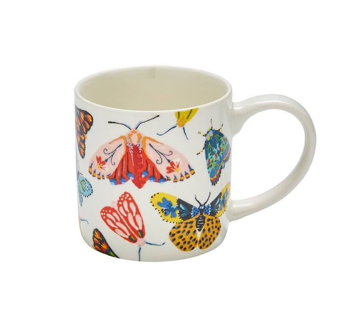 butterfly house mug showing fantasy butterflies against a creamy white background