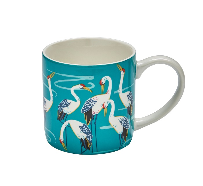 cranes mug showing birds against turquoise background