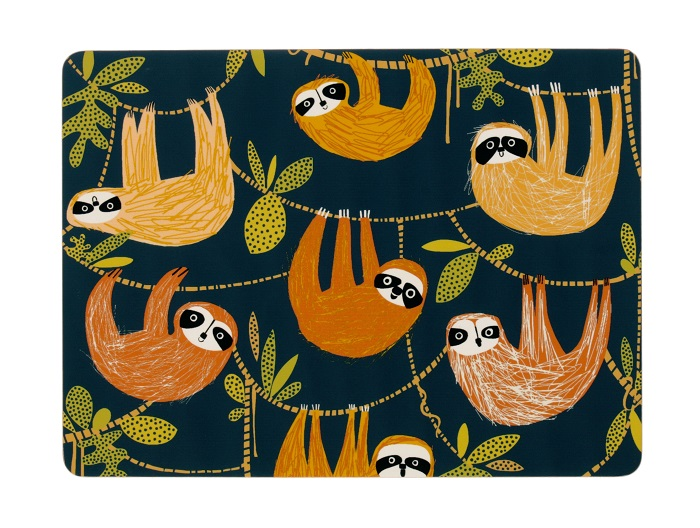 hanging around placemats showing sloths in warm colours against a navy background