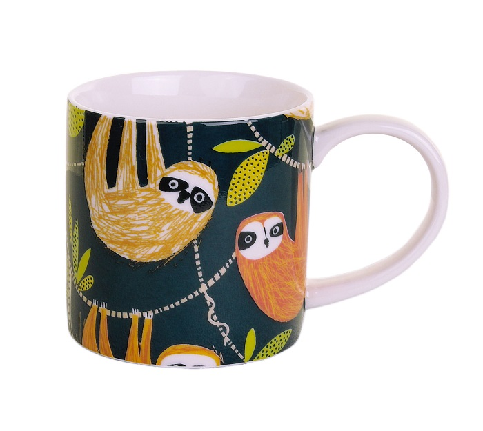 HANGING AROUND MUG WITH SLOTHS IN WARM COLOURS AGAINST NAVY BACKGROUND