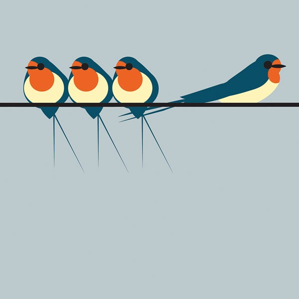 swallows on a line greetings card with birds against a duck egg blue background