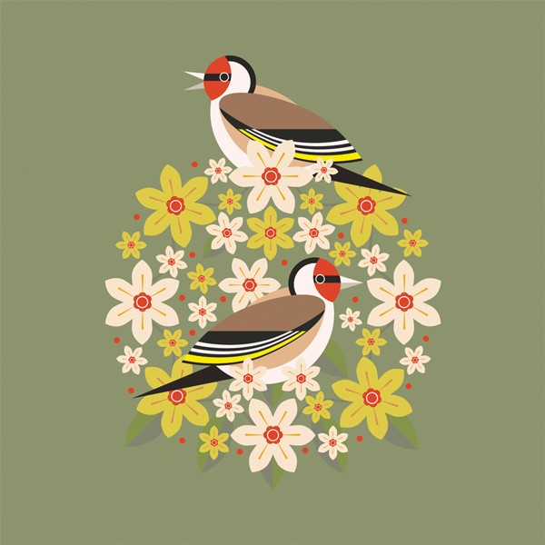 goldfinch and bloom greetings card against an olive green background