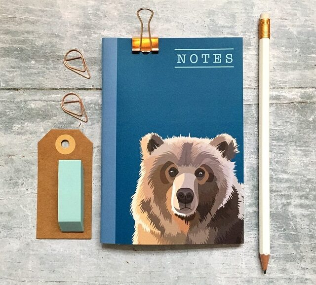 small notebook with a bear on the front, plus a pencil and eraser