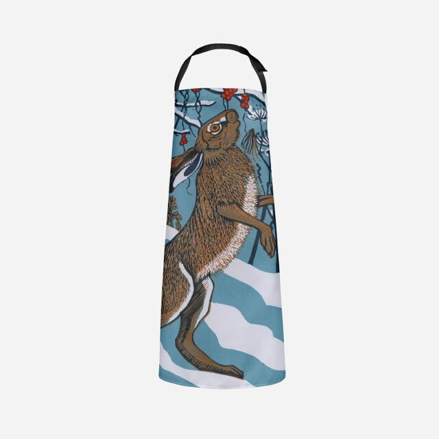 bryony hare apron showing brown hare against snow