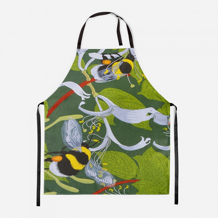 bumble bees apron showing bees against a leafy green background