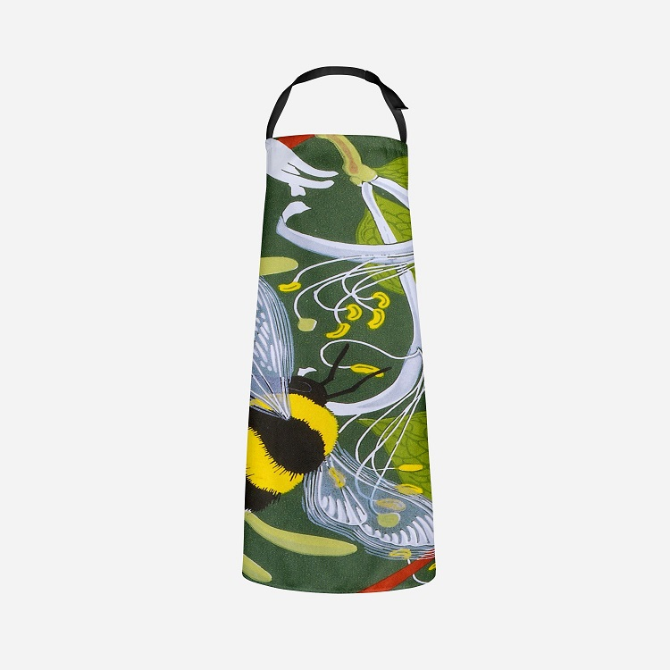 bumble bees on an apron with green background