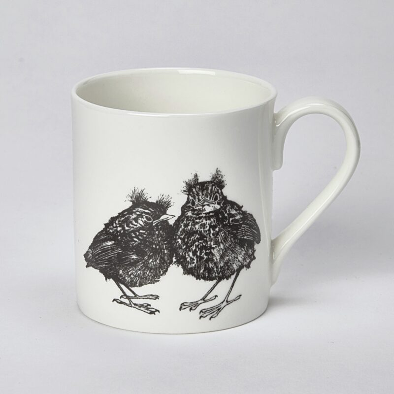 baby robins mug with chicks drawn in black against white background