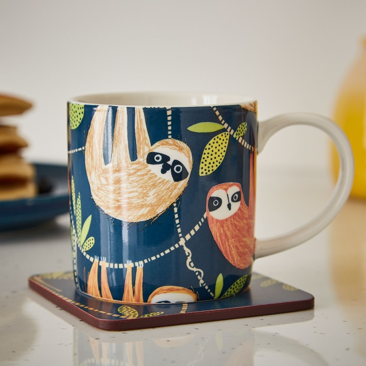 Hanging around mug on a coaster