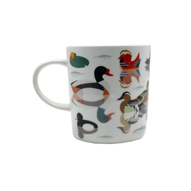 white ceramic mug with ducks