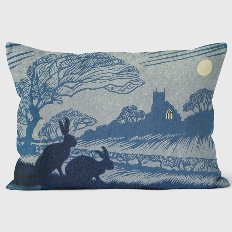 norfolk night cushion with two hares in silhouette against a pale grey and blue background