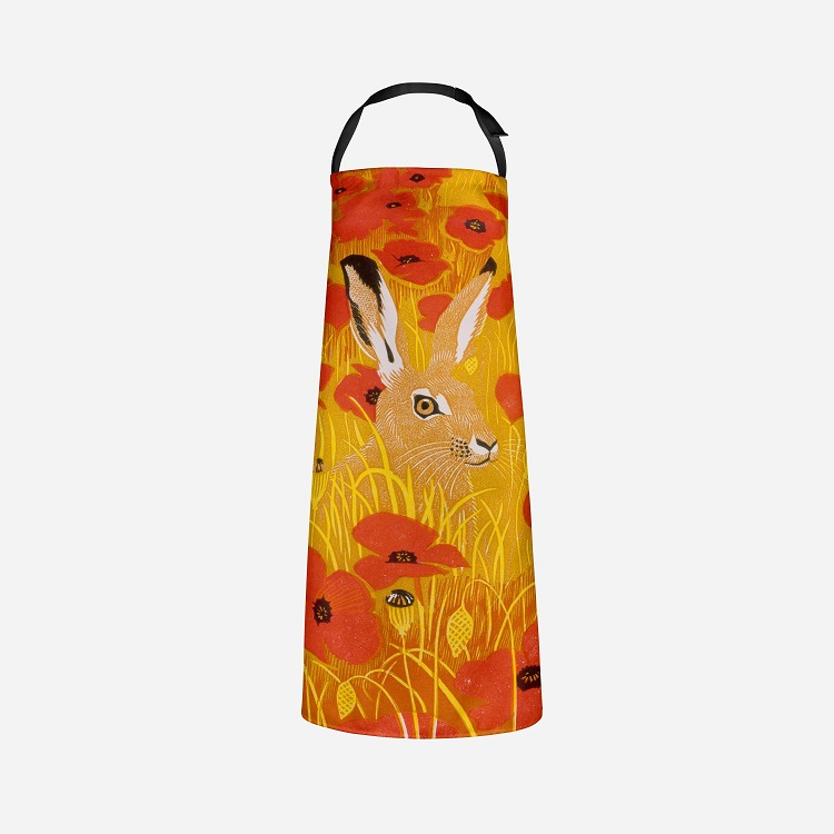 poppy hare apron with brown hare's face in wheat with poppies
