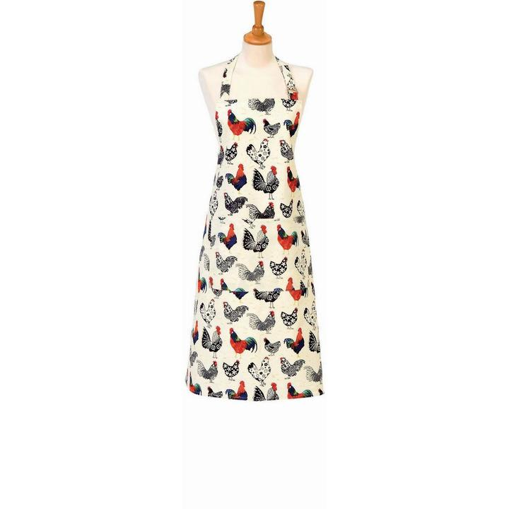 rooster apron with black and white birds with red combs