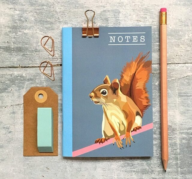 small notebook with a squirrel on the front, plus a pencil and eraser