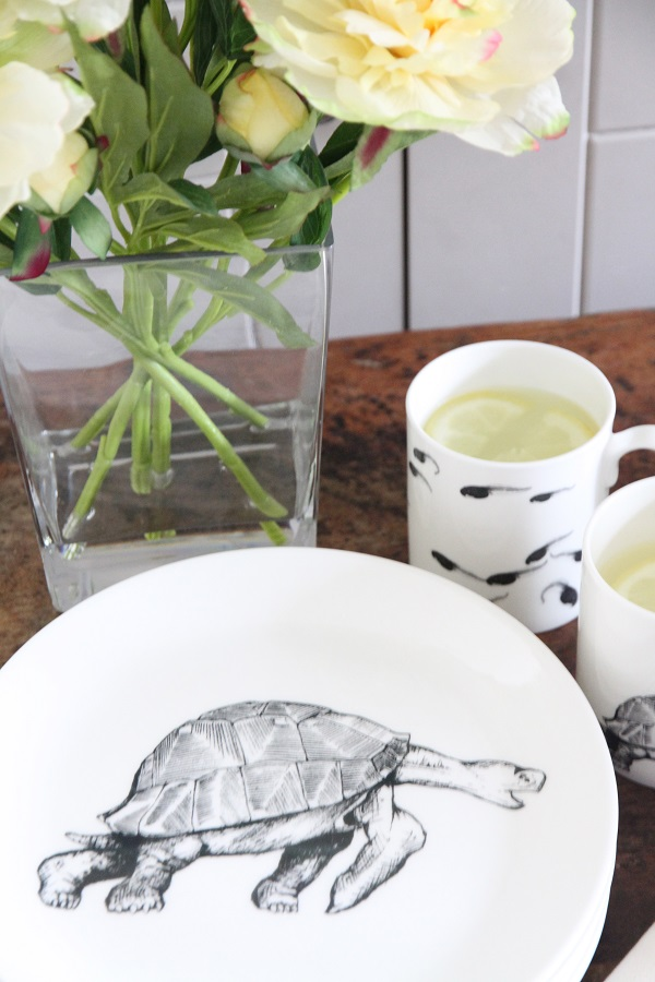 tortoise plate in foreground with tadpole mugs and vase of flowers behind