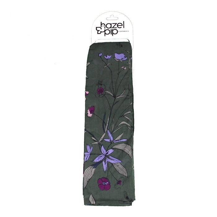 dark green scarf with purple and mauve flowers and leaves