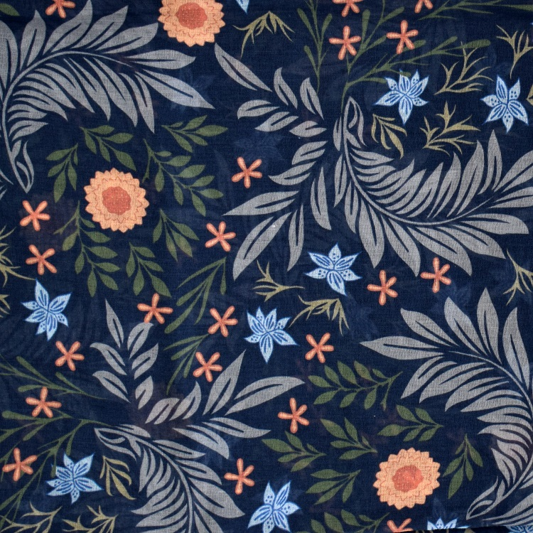 close up of dark blue fabric with flowers and leaves