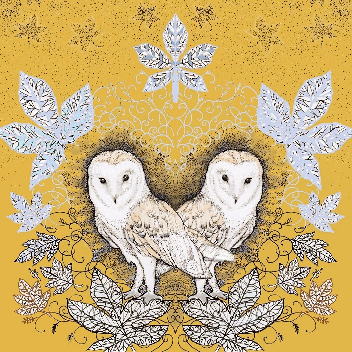 barn owl and leaves greetings card by fay's studio showing two barn owls against mustard coloured background with leaves