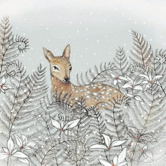 doe greetings card by fay's studio showing deer in ferns against pale background