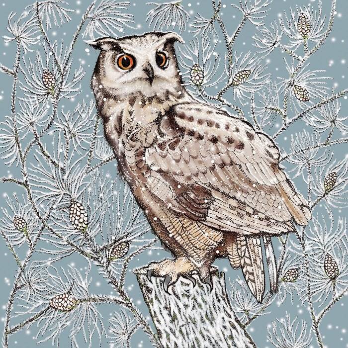 eagle owl greetings card by Fay's studio showing owl on a post against branches and a chilly pale blue sky